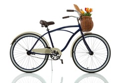 Beach cruiser with basket isolated on white