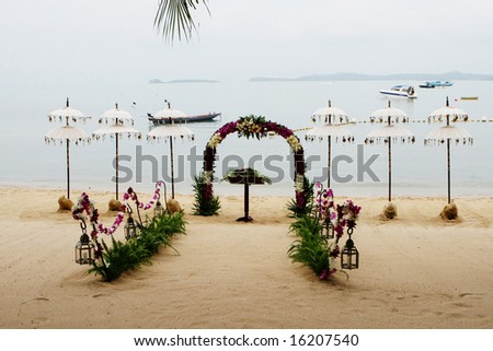 Beach decorated for a wedding in Thailand.