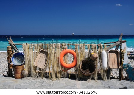 Beach decoration. Samos island, Greece