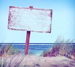 Beach Empty Plank Sign Banner Timber Coastline Summer Concept