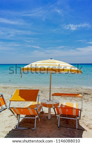 Beach equipment, chairs and sun umbrella on white sandy beach with light blue sea water, beach vacation concept #1146088010
