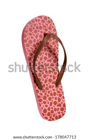 Beach flip flops - Brown-pink leopard / object photography in a studio of women\'s beach shoes - isolated on white background