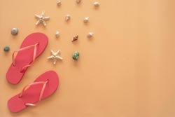 Beach flop, seashells and starfishes on sandy background with copy space. Top view.