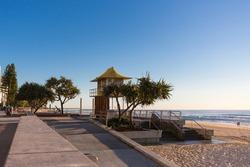 Beach front Esplanade at sunrise, Surfer Paradise, Gold Coast, Queensland, Australia