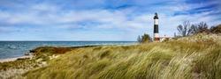 Beach Grass At Big Sable Point Lighthouse Along Lake Michigan, Ludington State Park, Lower Peninsula, Michigan, USA