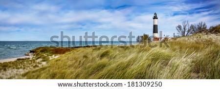 Beach Grass At Big Sable Point Lighthouse Along Lake Michigan, Ludington State Park, Lower Peninsula, Michigan, USA #181309250