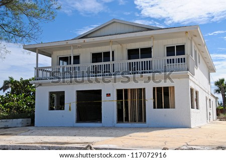 Beach House Being Repaired after Hurricane Storm Damage