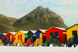 Beach huts at Muizenberg near Cape Town South Africa.