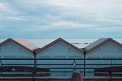 Beach huts in front of the Mediterranean sea (Pesaro, Italy, Europe)