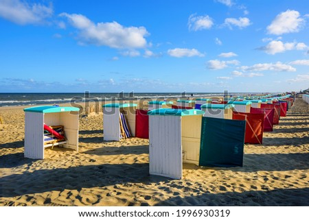 Beach huts on an Atlantic ocean coast sand beach by Katwijk aan Zee, South Holland, Netherlands Stockfoto ©