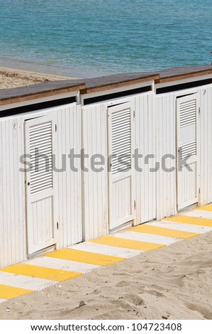 Beach huts. Otranto. Puglia. Italy.