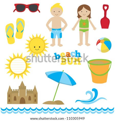 Beach images set - stock photo
