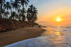 Beach in Cape Coast, Ghana. In the morning