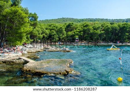 Beach in Marjan Park in Split, Croatia
