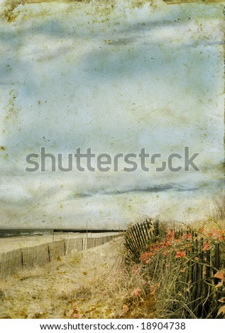 Beach in stormy weather on a grunge background. Copy-space for your text.