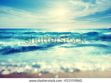 beach in sunset time, tilt shift effect #415559860