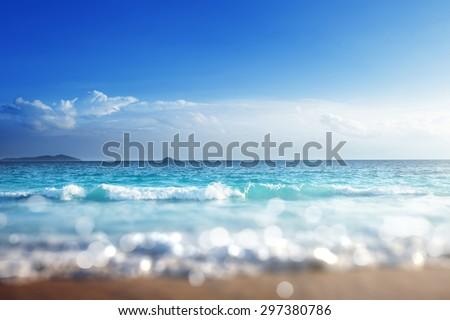 beach in sunset time, tilt shift soft effect  #297380786