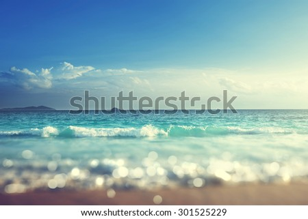 beach in sunset time, tilt shift soft effect  #301525229
