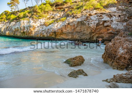 Beach in the Islas Baleares, Spain. Beautiful turquoise sea in paradise summer paradise. Tourist beach in may the island nature in the middle of the blue ocean