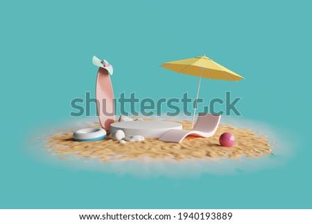 beach island vibe summer sun hot sea surf ball umbrella sun chair lifering enjoy relax vacation holiday travel display and podium product advertisement fashion cosmetics skincare. 3D illustration. Stok fotoğraf ©