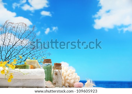 Beach items on table,Natural spa resort.