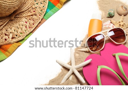 Beach items on white background.Copy space for your text.