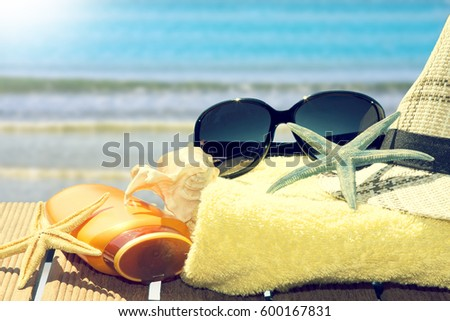 beach items to the tropical landscape, summer vacation #600167831
