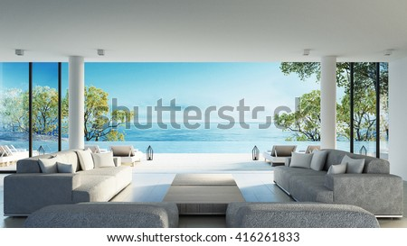 Beach living on Sea view / 3d rendering