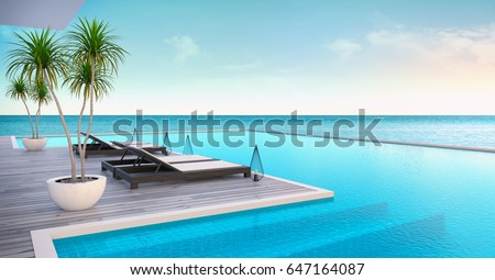 Beach lounge ,sun loungers on Sunbathing deck and private swimming pool with  panoramic sea view at luxury villa/3d rendering