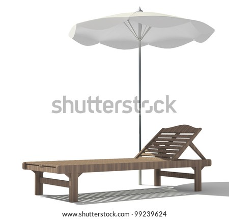 beach lounger with an umbrella on a white background