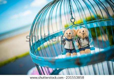 Beach, love bear dolls decoration, wedding decoration, love, couple