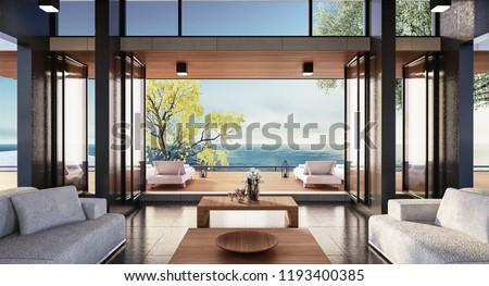 Beach luxury living on Sea view / 3d render