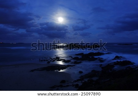 Beach Moonscape in Sawtell Beach at Coffs Harbour