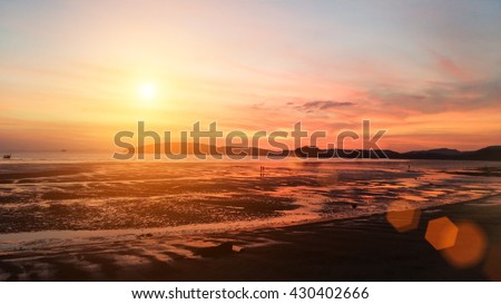 Beach natural background blur warm colors and bright sun light summer background. World Ocean Day. #430402666