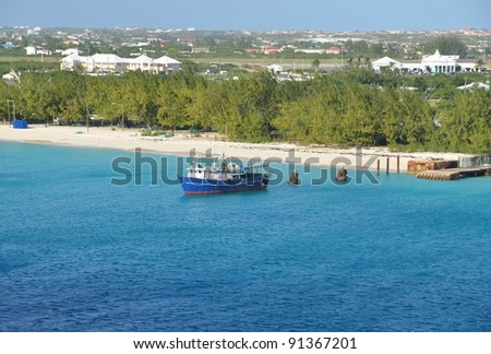 beach near the Cruise ship pier, JAGS McCartney International Airport in the background Grand Turk, Turks and Caicos Islands