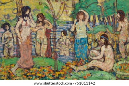 BEACH NO 3, by Maurice Brazil Prendergast, c. 1913, Canadian-American painting, oil on canvas. An imaginary scene of seven mostly nude women among trees and beside water. The faceless figures are depi