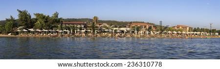 Beach of Anthemus Sea Hotel. Chalkidike in Greece.