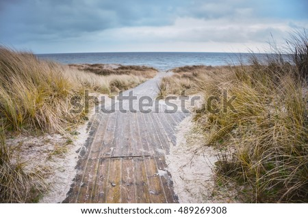 Beach of baltic sea in cold days. Original Wallpaper with soft colors. Coastal scenery with sandy beach, dunes with marram grass and rough sea on winter day.