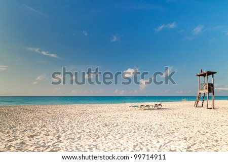 Beach of Caribbean Sea in Mexico