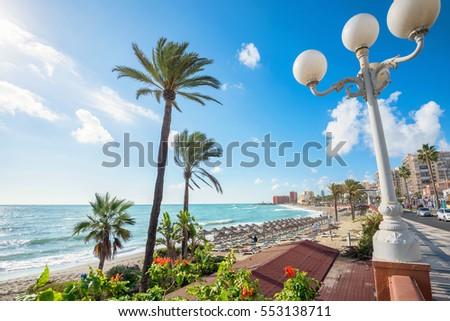 Shutterstock Beach of coastal Benalmadena town. Malaga, Andalusia, Spain