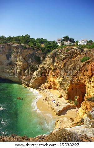 Beach of Paraí­so, in the tourist region of Algarve, Portugal.