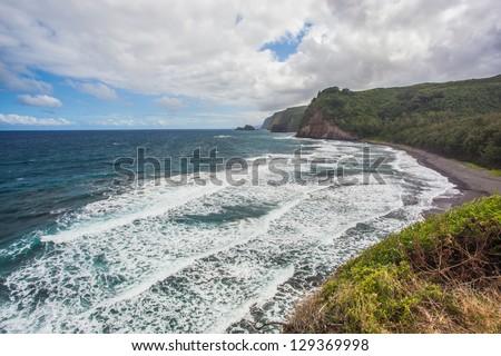 Beach of Pololu Valley in Big Island, Hawaii