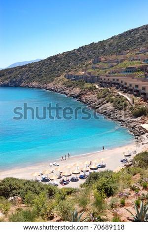 Beach of the luxury hotel, Crete, Greece