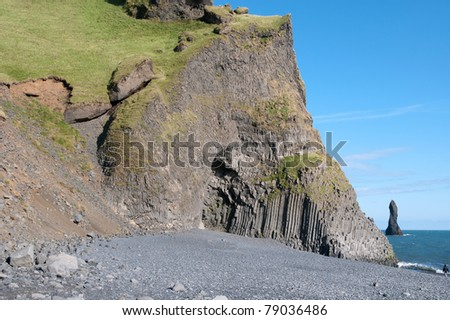 beach of the organ pipe at Vik in Iceland