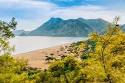 Beach of turkish village on Mediterranean Sea - Cirali, Antalya Province, Turkey, Asia