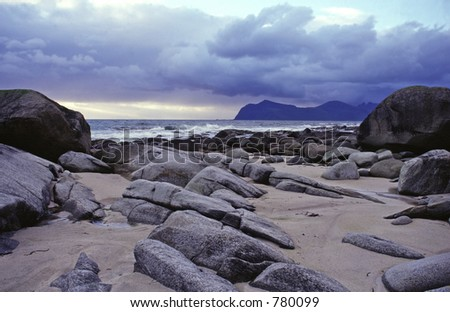 Beach of Vikten in Lofoten Islands, Norway