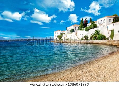 Beach on    idyllic greek island Spetses. #1386071993