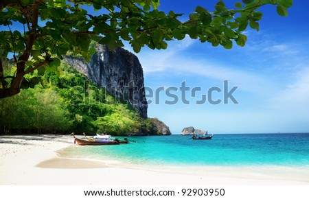 beach on poda island in Thailand - stock photo