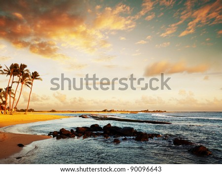 Beach on sunset