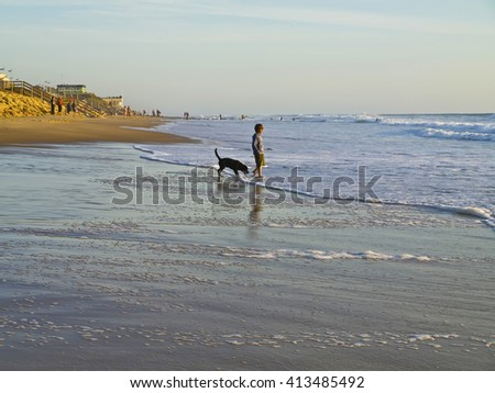 Beach on the Atlantic coast of France, Aquitaine, Lacanau-Ocean #413485492